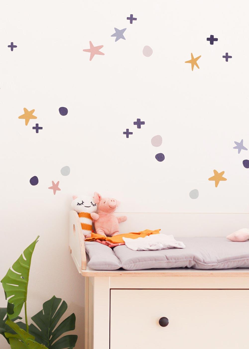 Stickerset Wand Möbel Sterne Unendlig Teilansicht