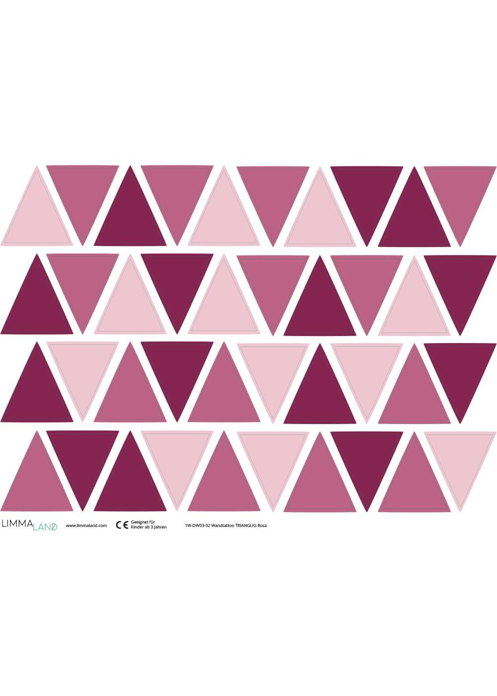 Stickerset Dreiecke rosa Druckvorlage
