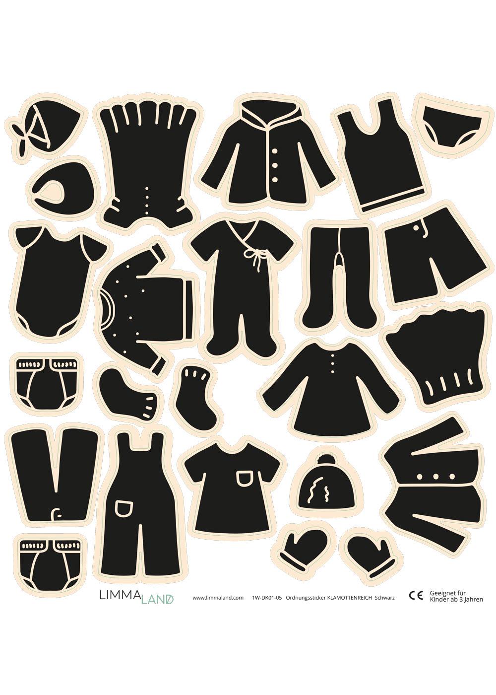 Stickerset Kleidung schwarz Druckvorlage
