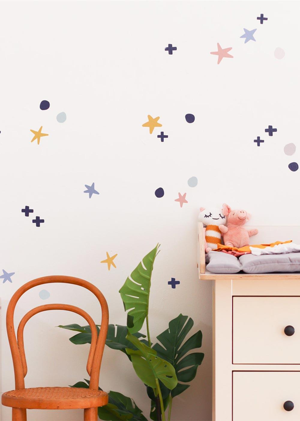 Stickerset Wand Möbel Sterne Unendlig Gesamtansicht