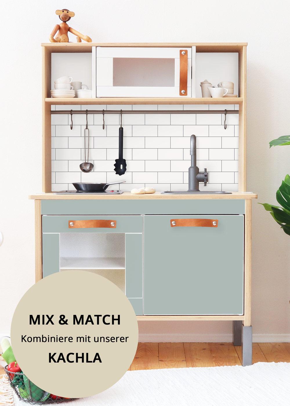 Ikea Duktig Kinderküche Frontli  Salbei Komplettansicht mit Regenbogen