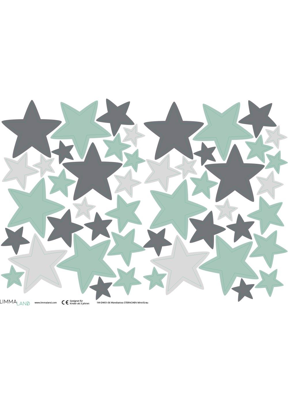 Stickerset Sterne mint grau Stickerbogen