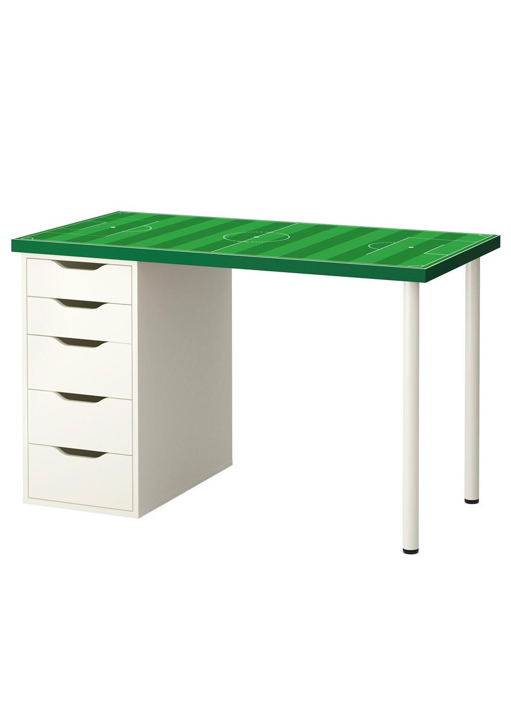 Ikea Linmon Alex Kinderschreibtisch Fussballfeld grün Gesamtansicht