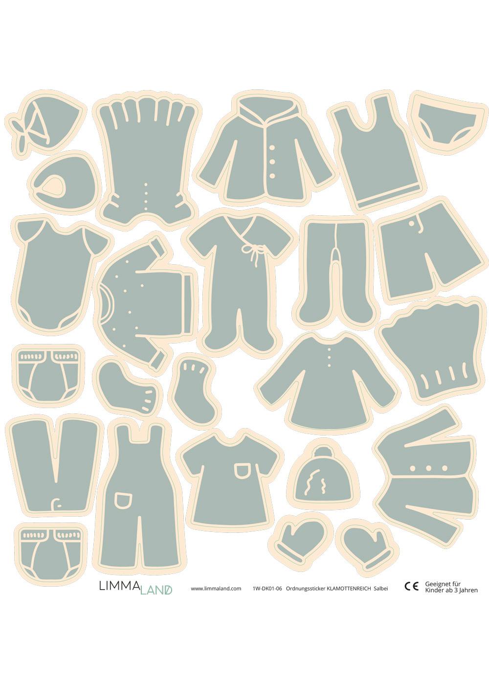 Stickerset Kleidung salbei Druckvorlage