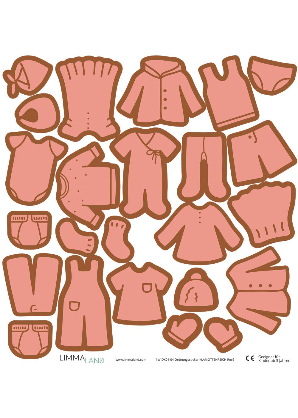 Stickerset Kleidung rose Druckvorlage