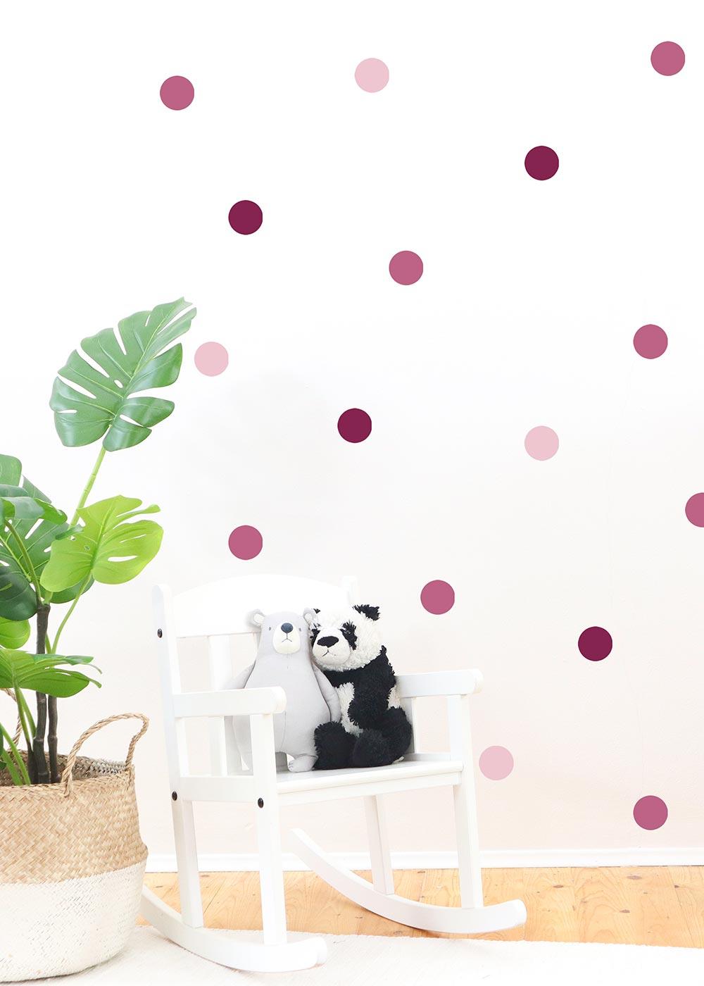 Stickerset Polka dots rosa Beispiel