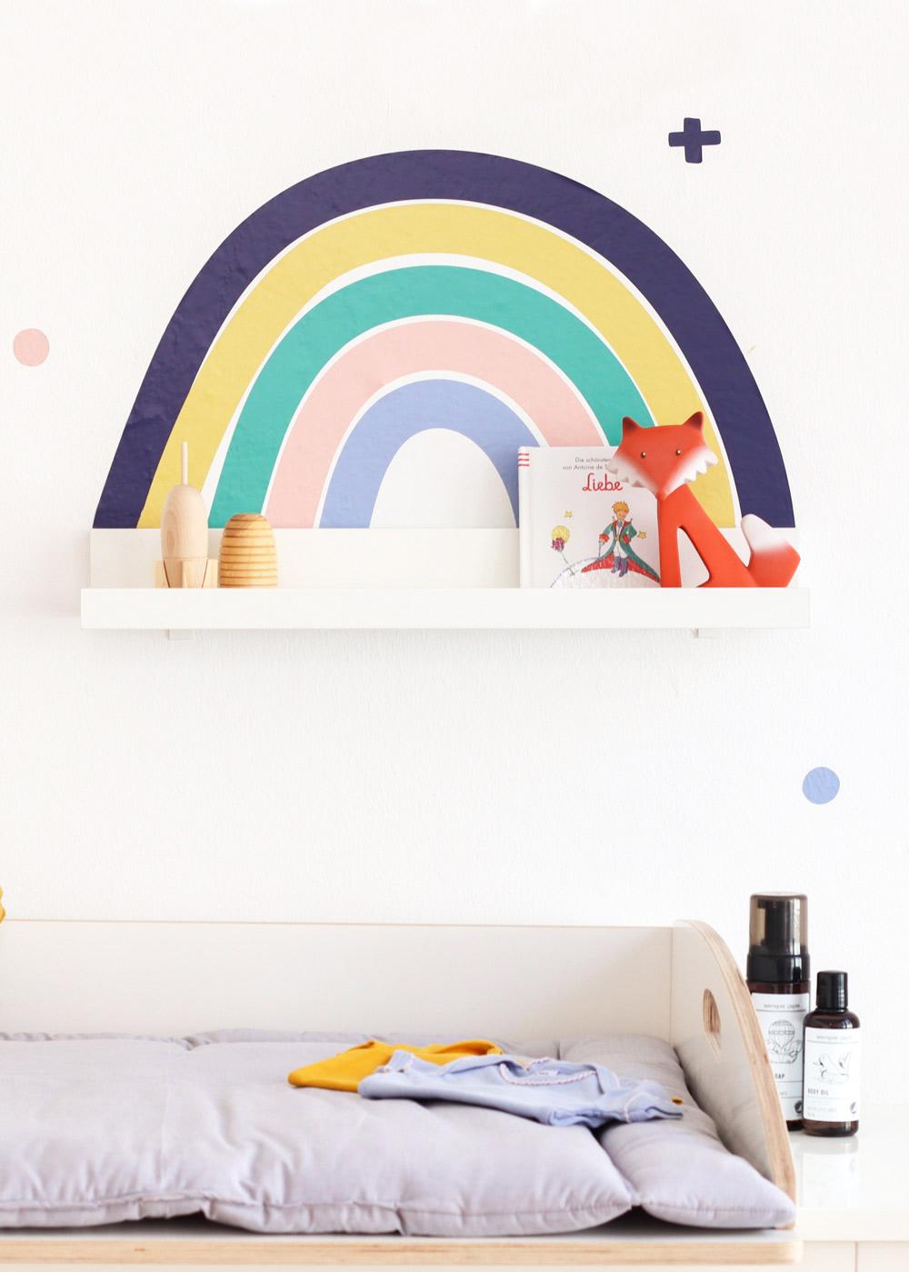 Ikea Mosslanda Bilderleiste Vielfalt Regenbogen Nachtblau Senf Komplettansicht
