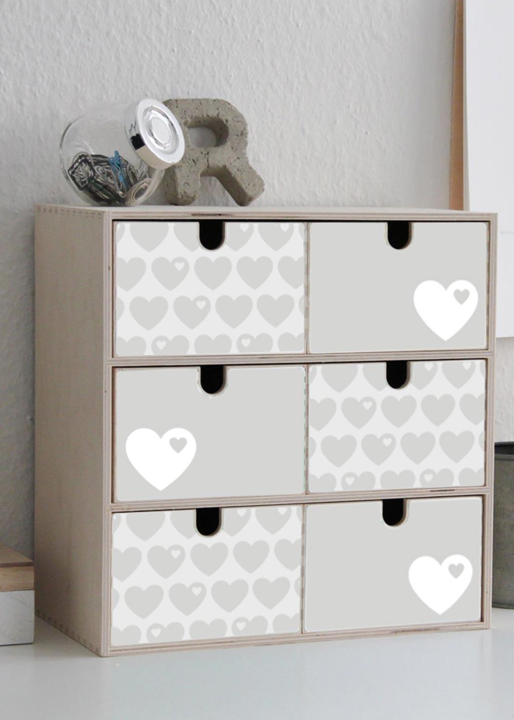 Klebefolie ByGraziela Mini Moppe grau Herz Einrichtungsbeispiel Seitenansicht