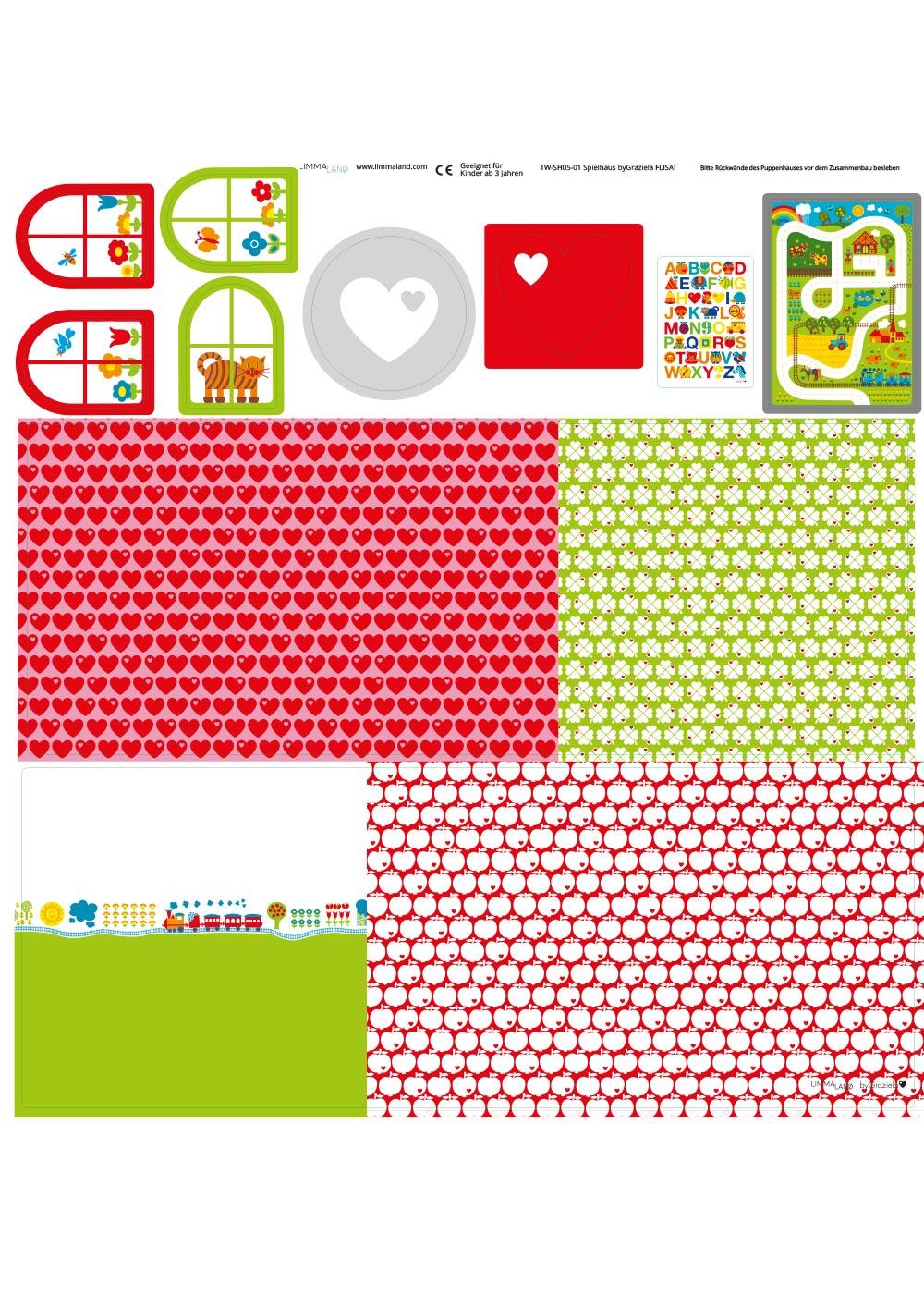 Ikea Flisat Puppenhaus Tapete ByGraziela rot grün Druckvorlage