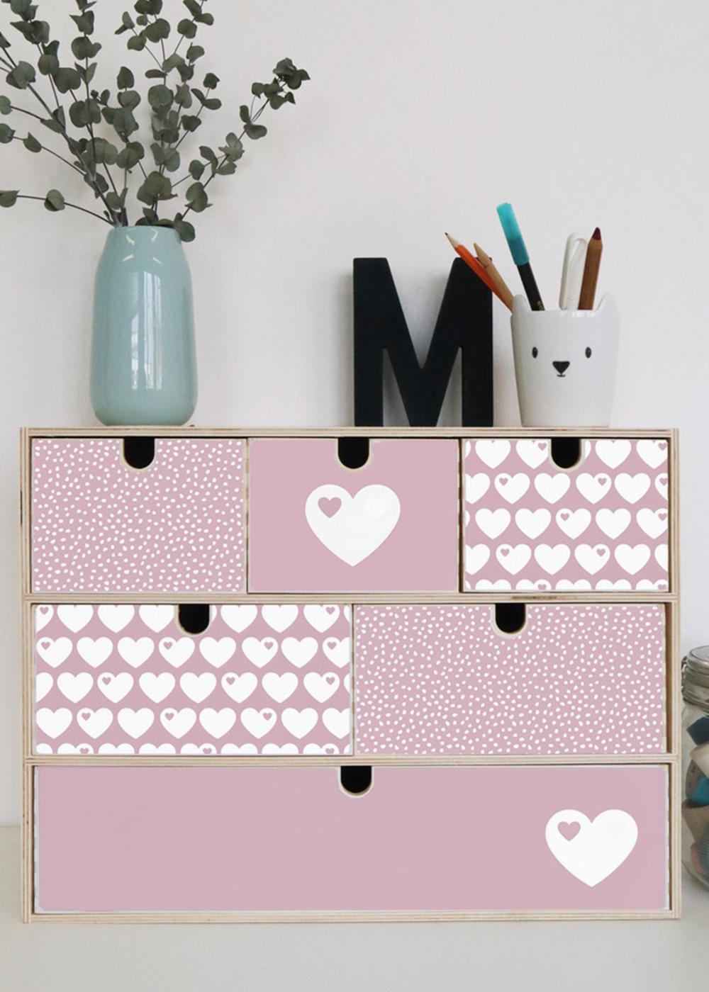Klebefolie Ikea große Moppe ByGraziela Herz rosa