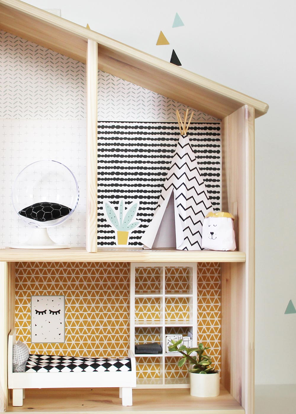 Ikea Flisat Puppenhaus Tapete Lille Stuba mint senf Teilansicht Zelt