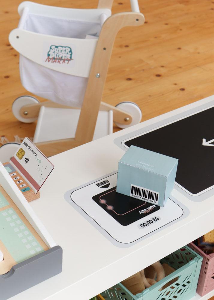 Stickerset Zubehör Ikea Kaufladen Kassa schwarz Teilansicht Scanner