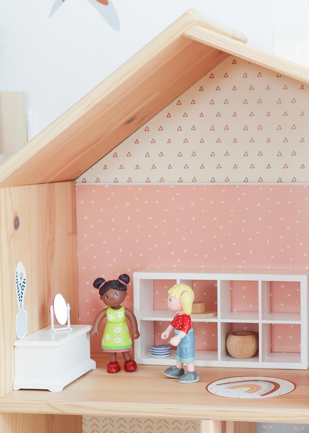 Ikea Flisat Puppenhaus Tapete Lille Stuba rosa camel Teilansicht