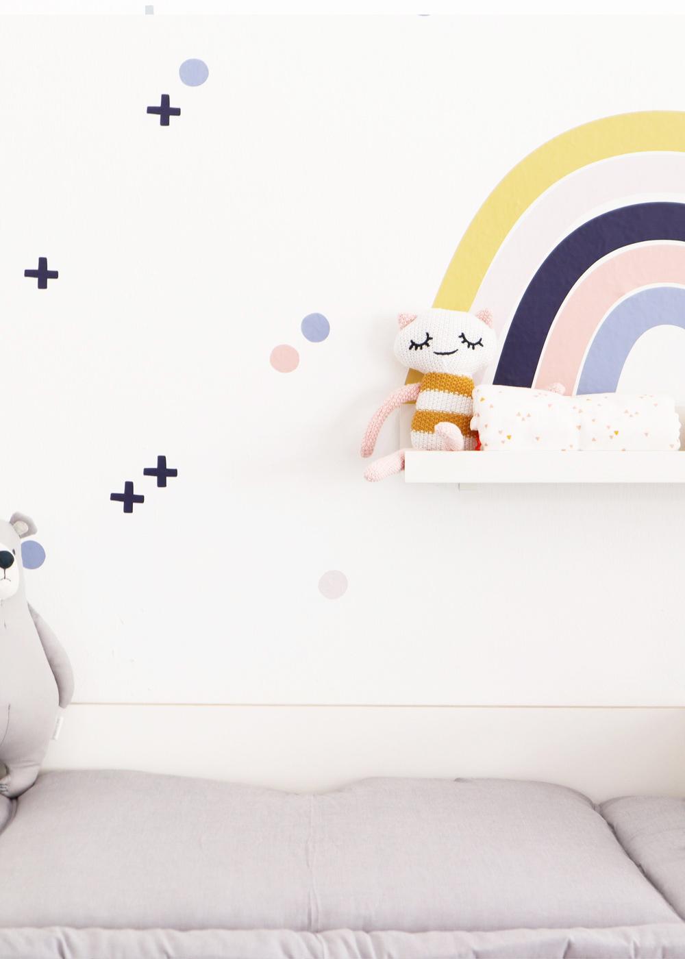 Ikea Mosslanda Bilderleiste Vielfalt Regenbogen Senf hellrosa Teilansicht