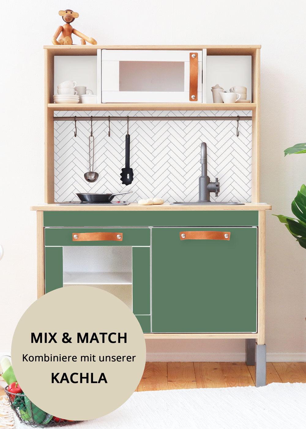 Ikea Duktig Kinderküche Frontli Immergrün Frontansicht schräg oben