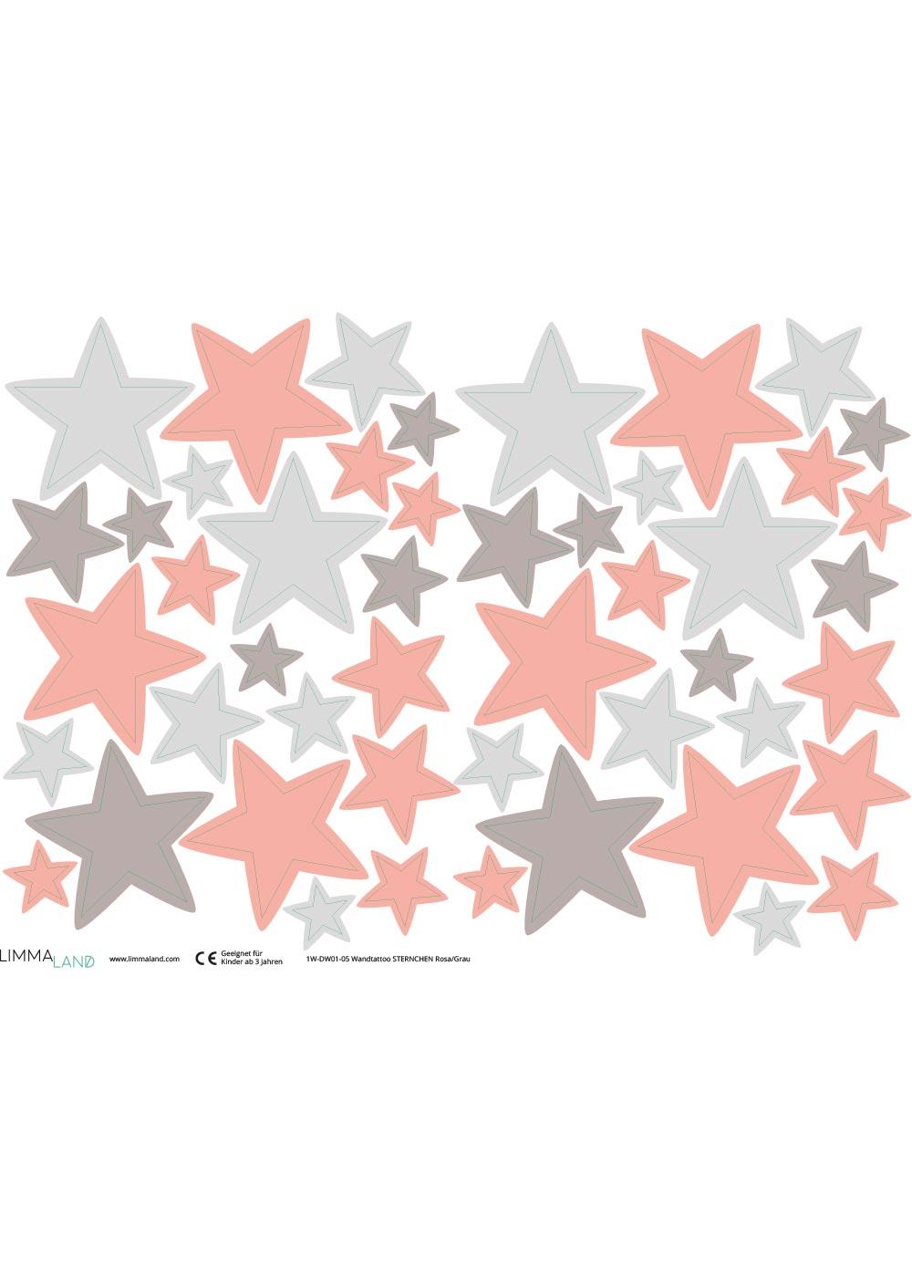 Stickerset Sterne rosa grau Druckvorlage