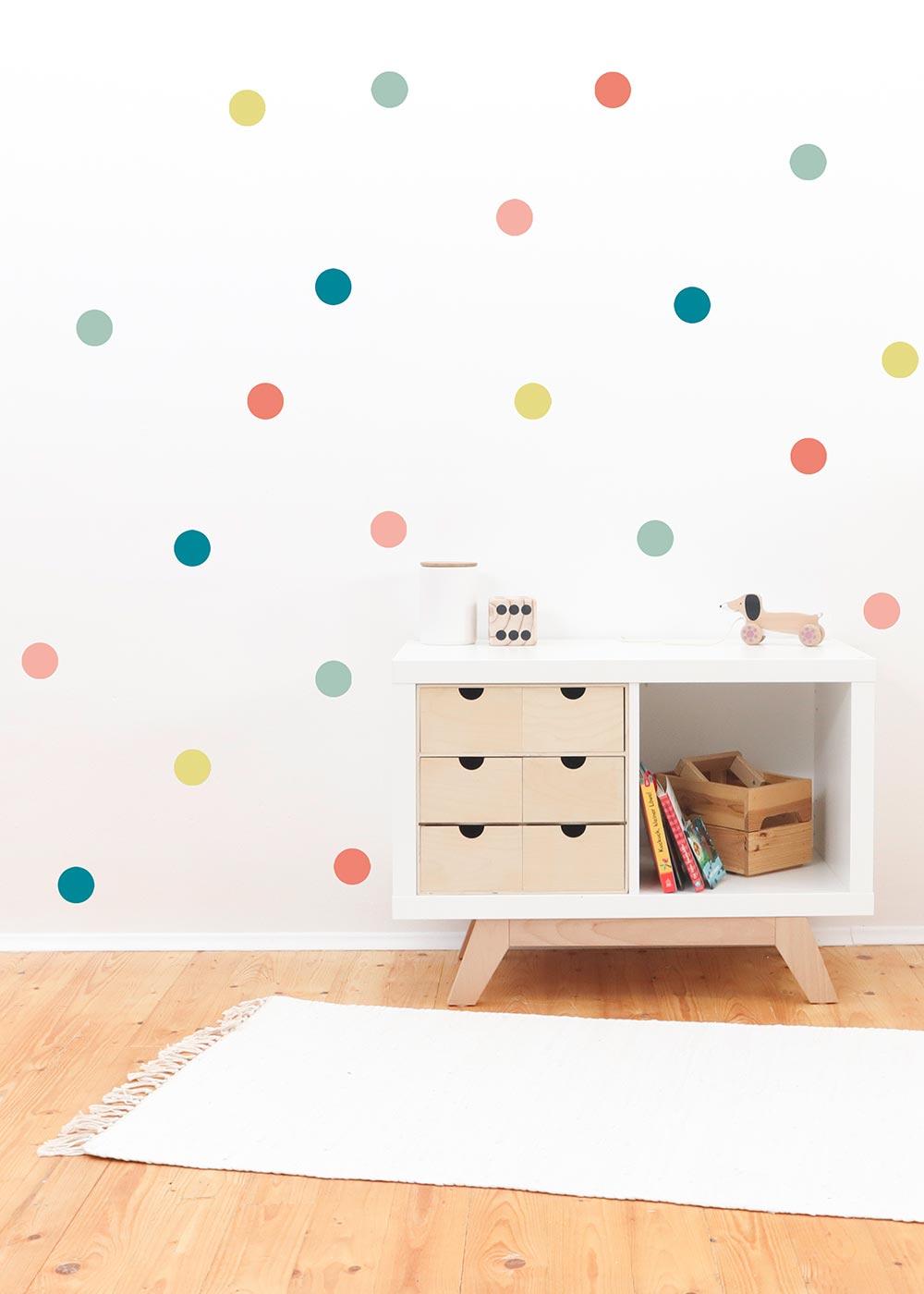 Stickerset Polka dots Pastell Beispiel Kinderzimmer