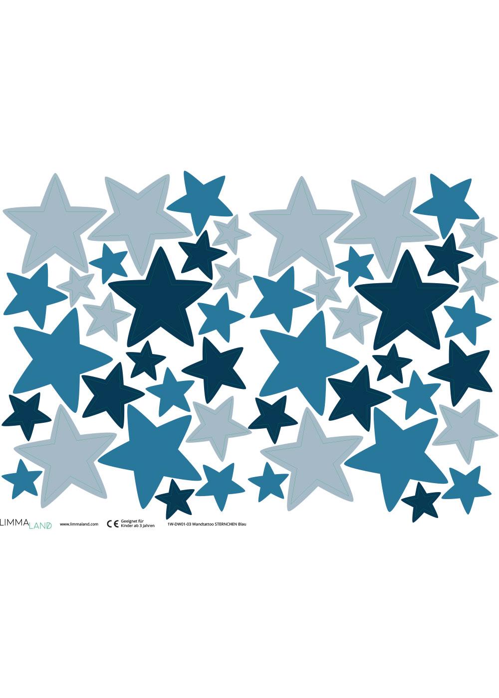 Stickerset Sterne blau Stickerbogen