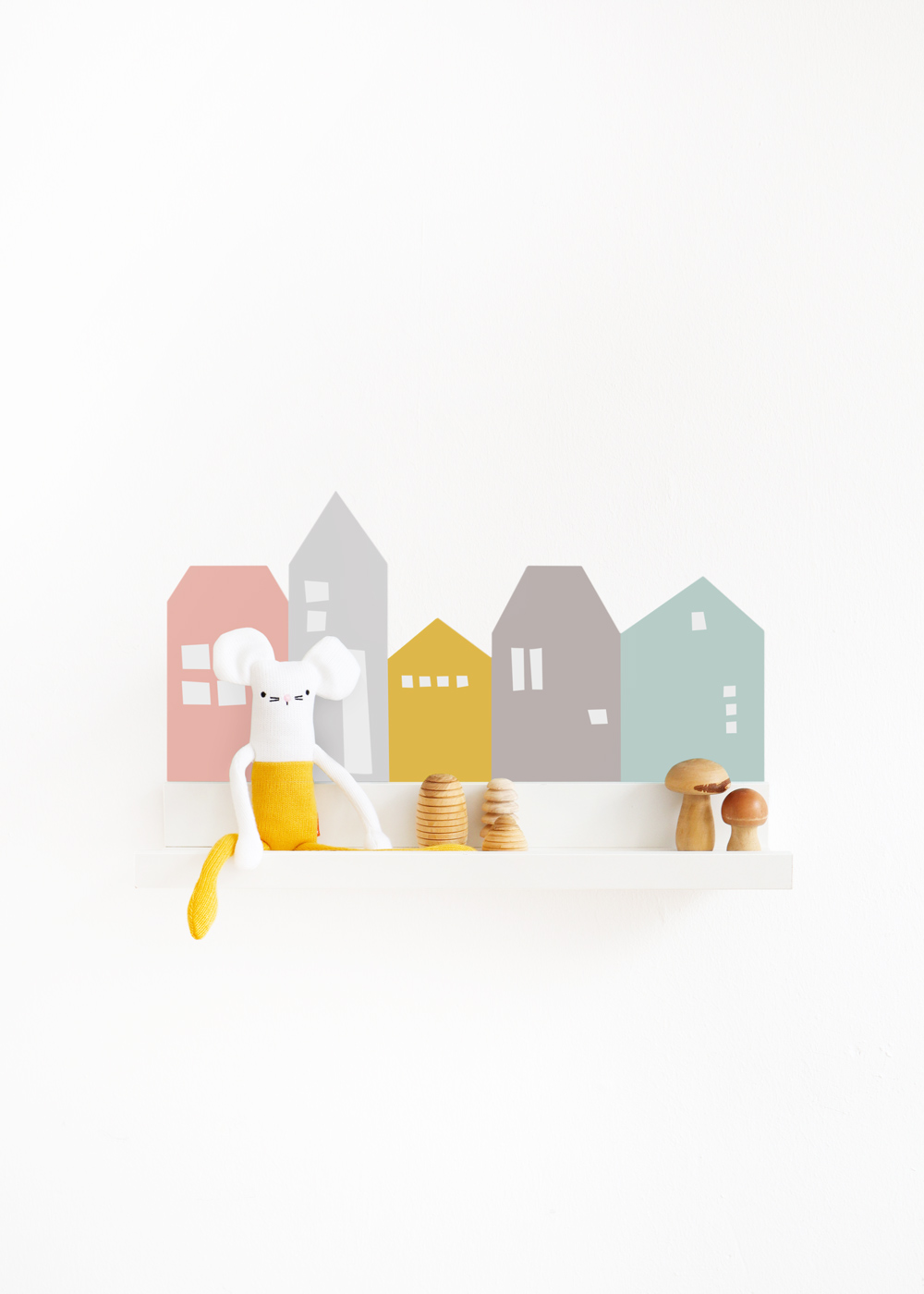 Ikea Mosslanda Bilderleiste Lille Hus rosa hellgrau Komplettansicht