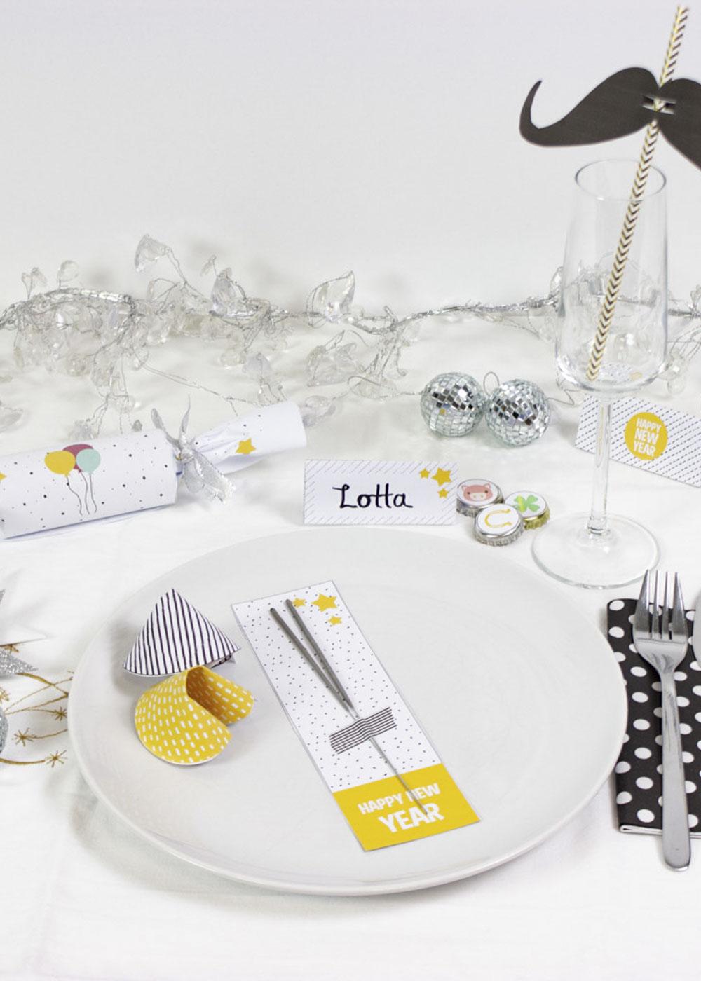 Bastelset Silvester mit Kindern - Tischdeko