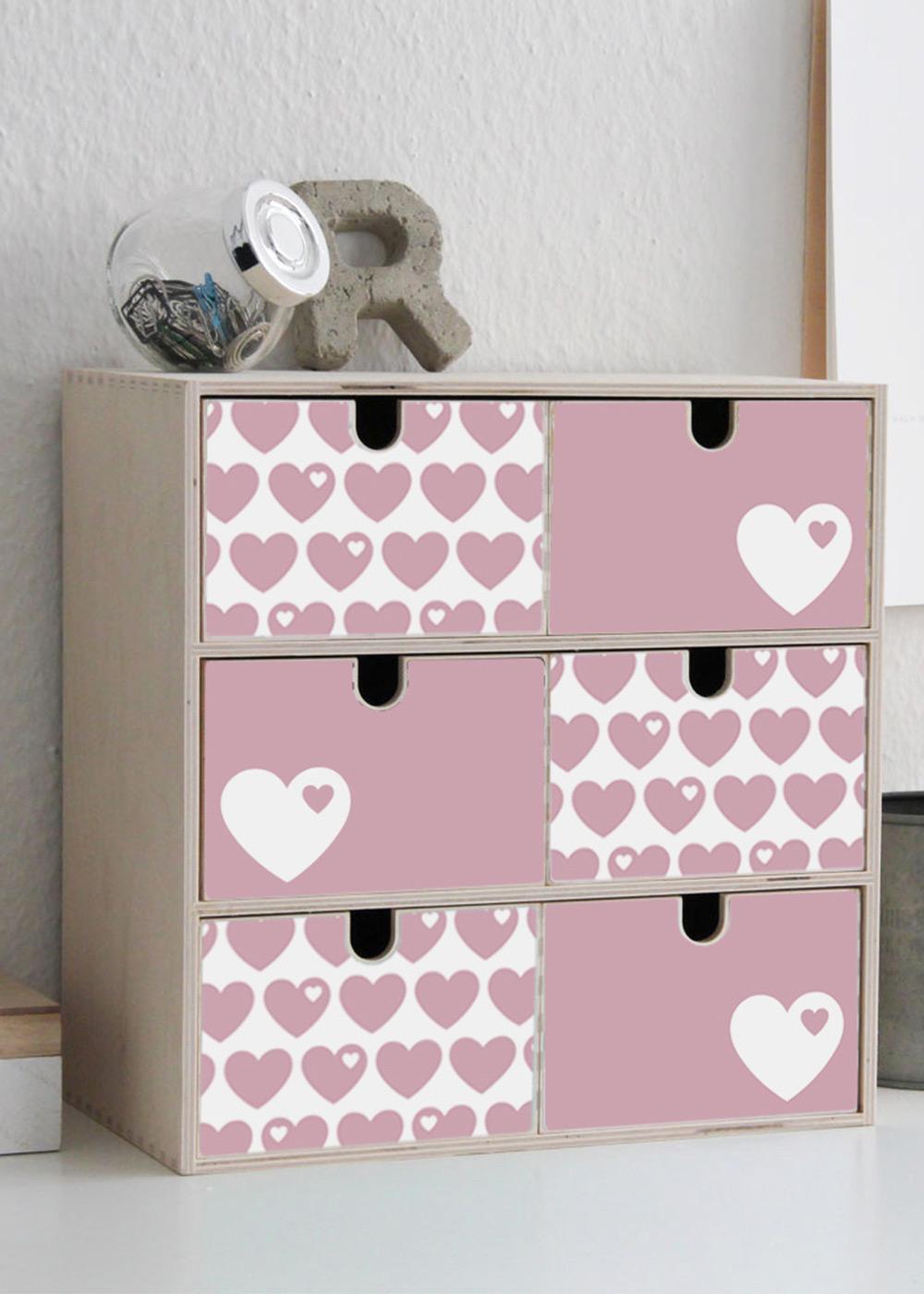 Klebefolie Ikea Moppe ByGraziela Herz rosa Seitenansicht
