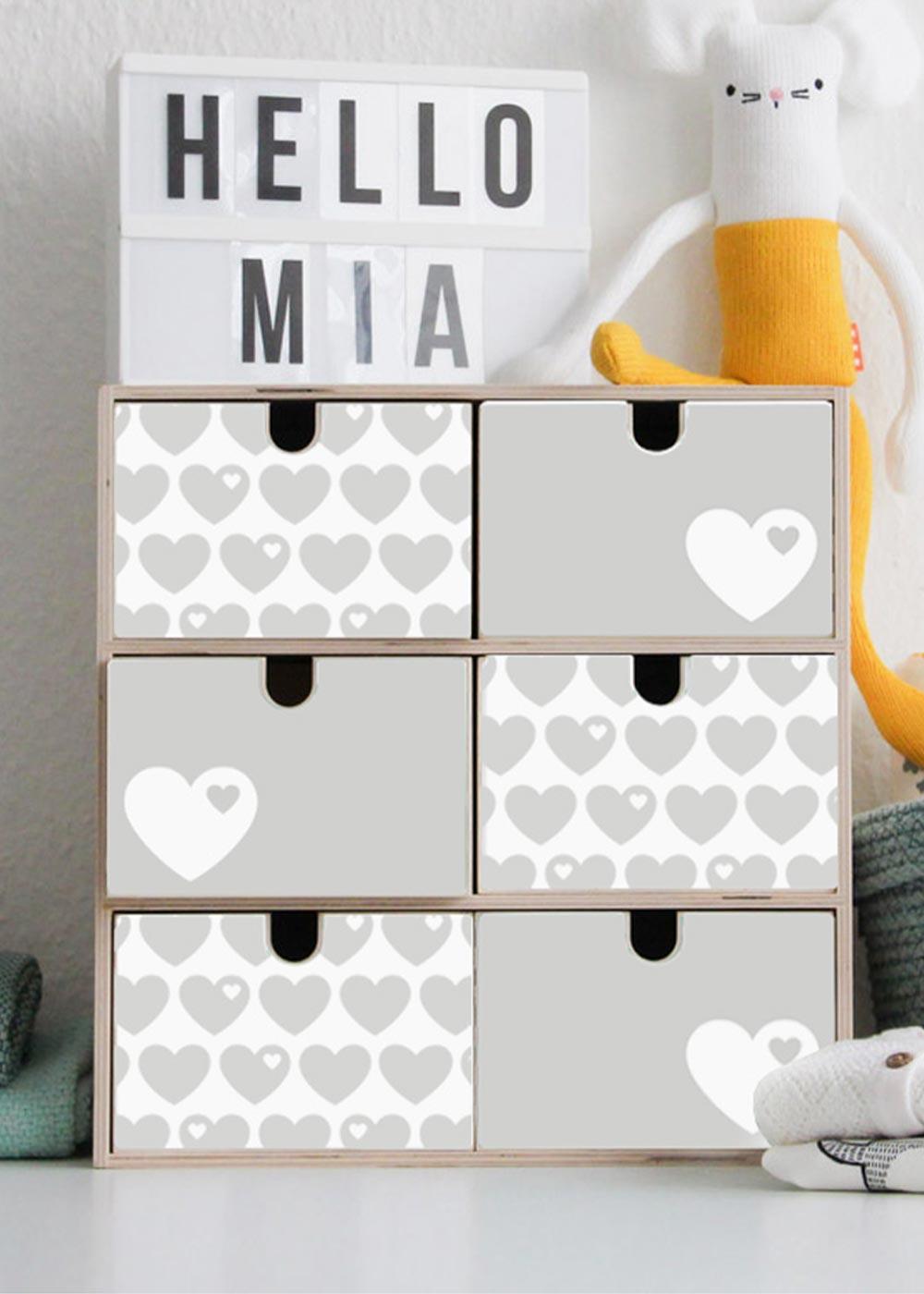 Klebefolie ByGraziela Mini Moppe grau Herz Einrichtungsbeispiel