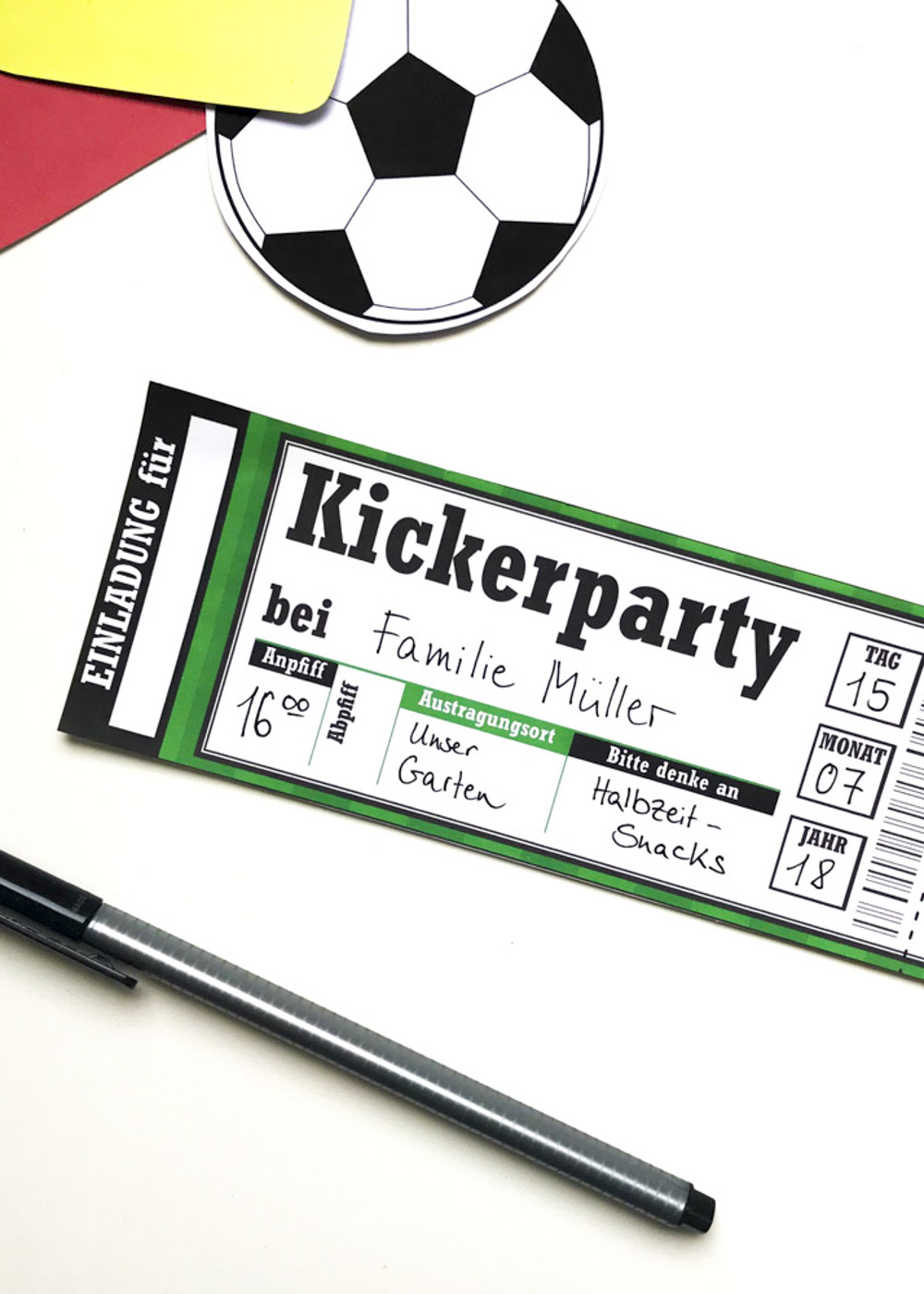 Bastelset Kindergeburtstag Fussball - Einladungskarte