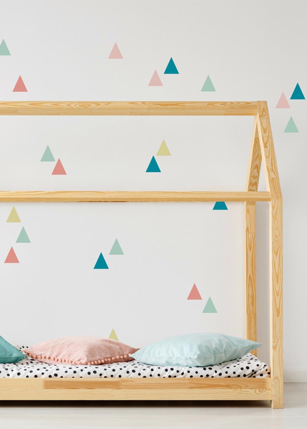 Stickerset Wand Dreiecke Pastell Ausschnitt