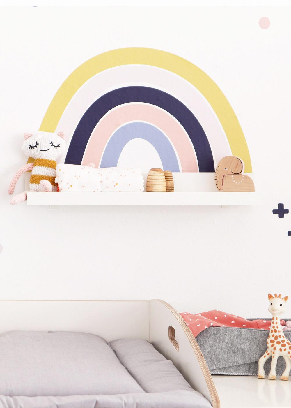 Ikea Mosslanda Bilderleiste Vielfalt Regenbogen Senf hellrosa Gesamtansicht