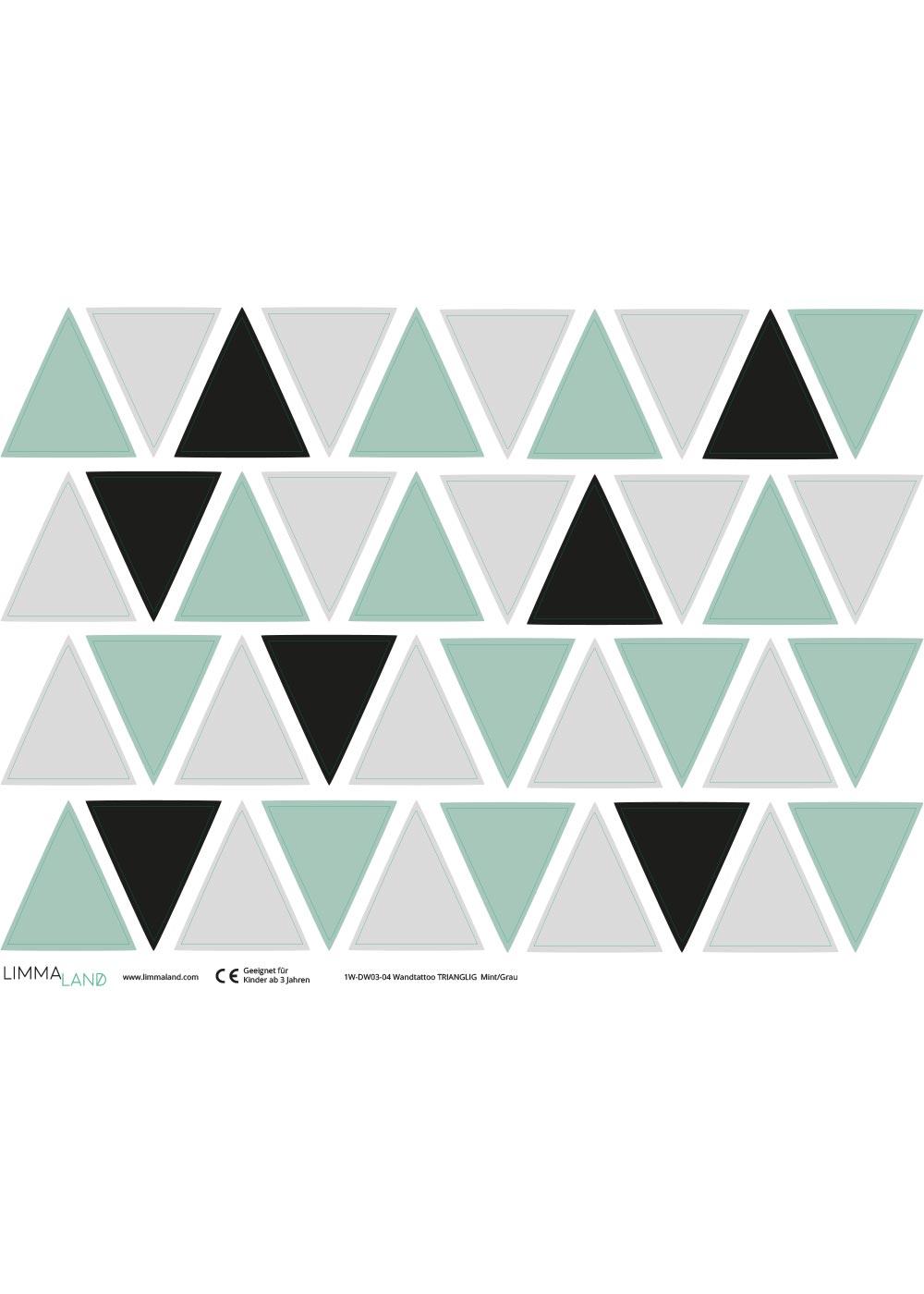 Stickerset Dreiecke mint grau Druckvorlage