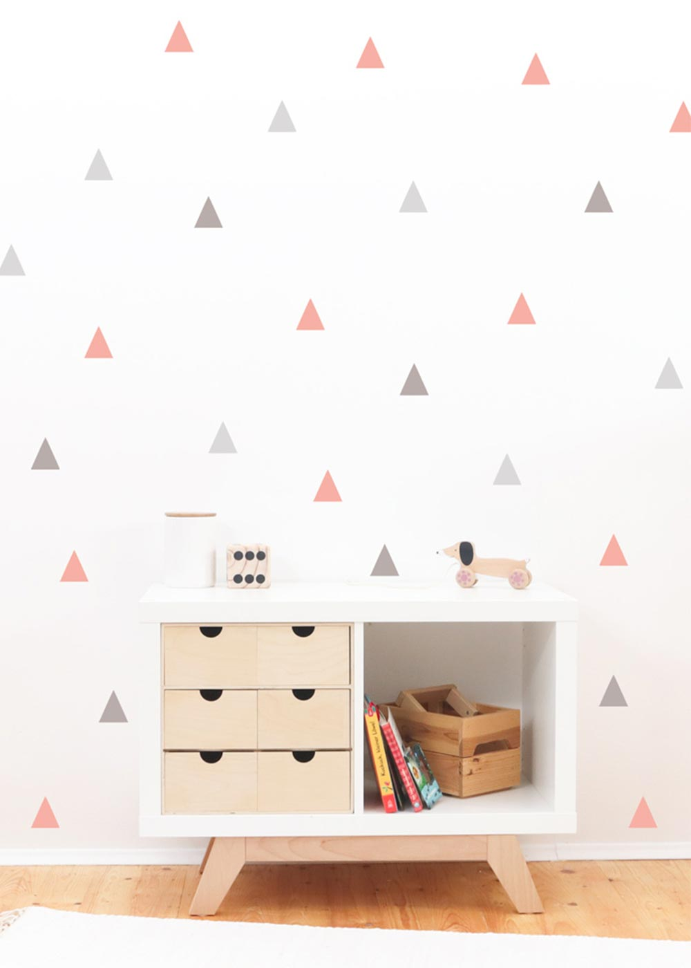 Stickerset Dreiecke rosa grau Detailansicht