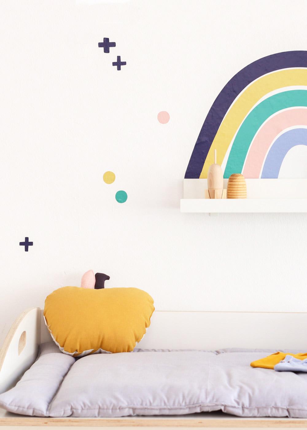 Ikea Mosslanda Bilderleiste Vielfalt Regenbogen Nachtblau Senf Teilansicht Regenbogen
