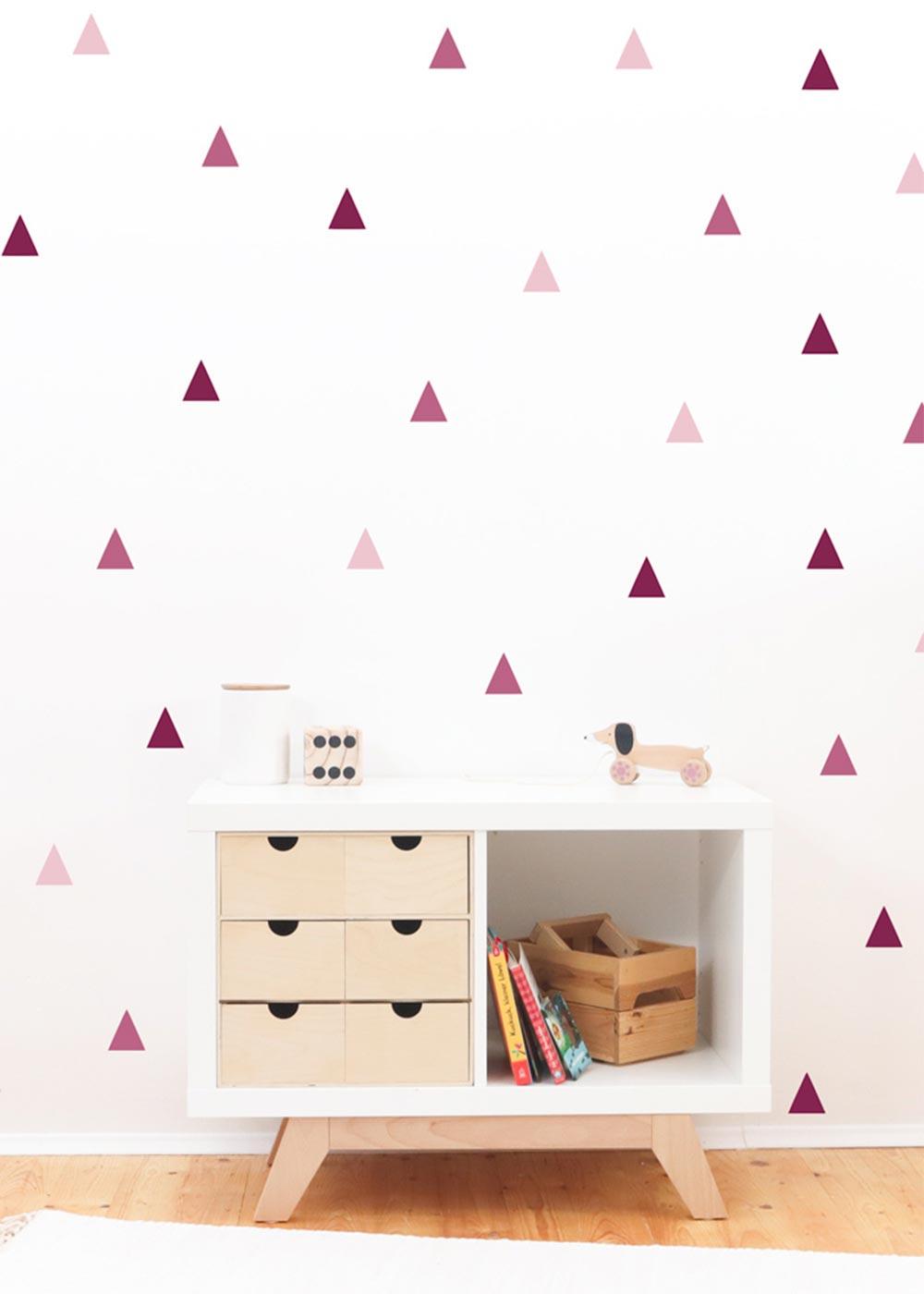 Stickerset Dreiecke rosa Detailansicht