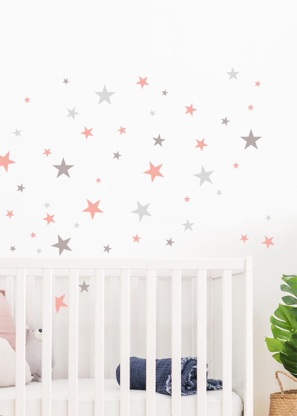 Stickerset Sterne rosa grau
