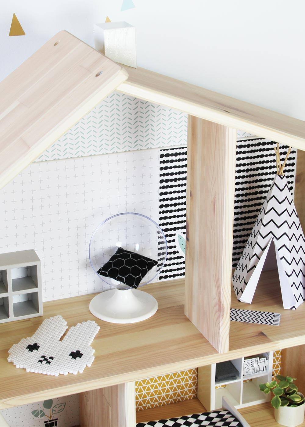 Ikea Flisat Puppenhaus Tapete Lille Stuba mint senf Teilansicht Wohnzimmer