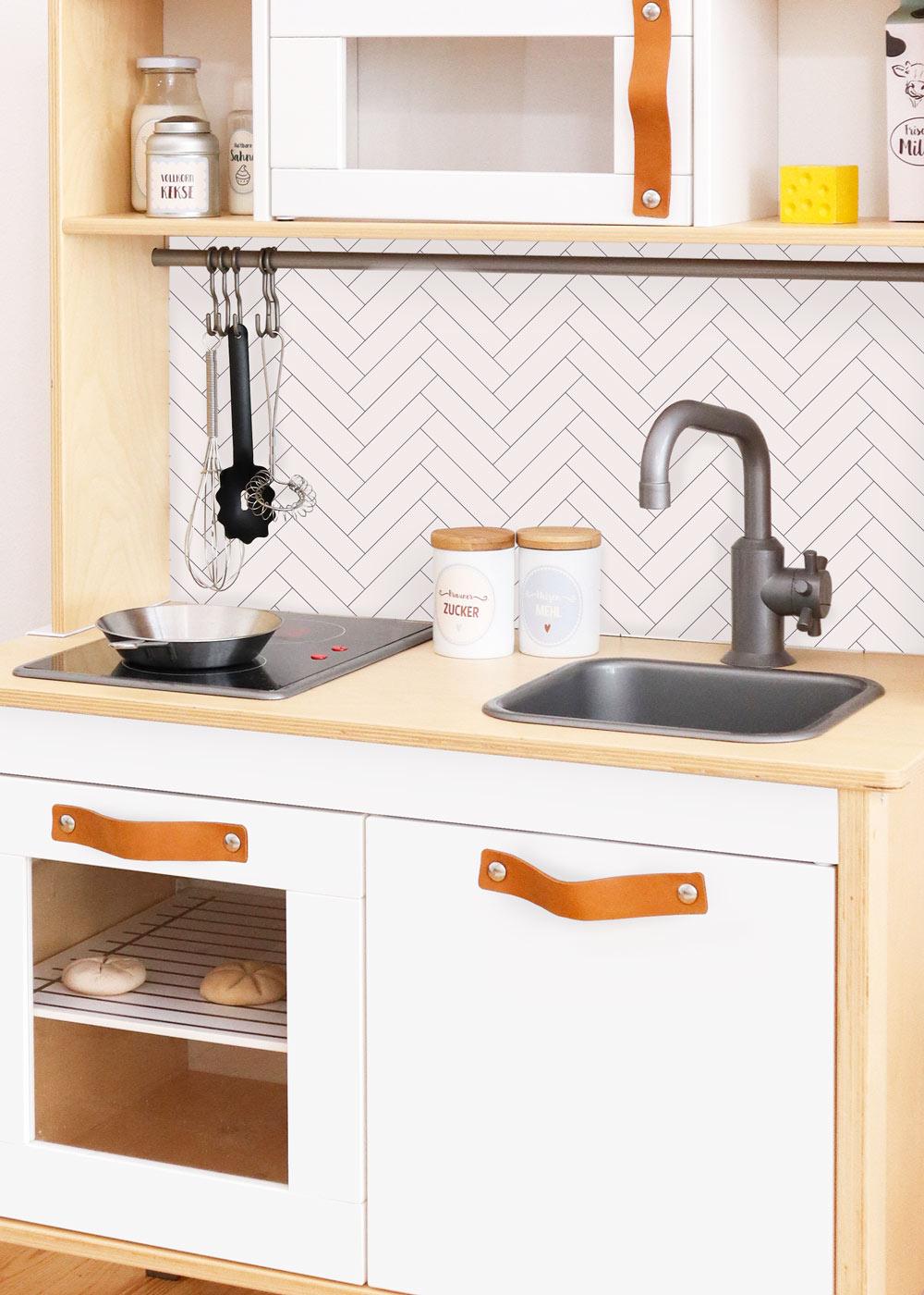 Ikea Duktig Kinderküche Kachla Fiskben weiss Spritzschutz