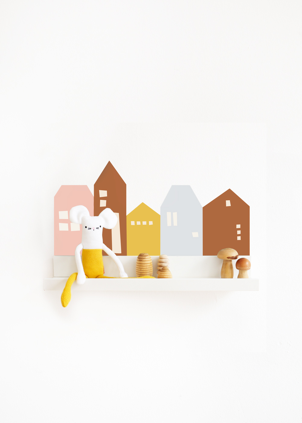Ikea Mosslanda Bilderleiste Lille Hus eisblau camel Komplettansicht