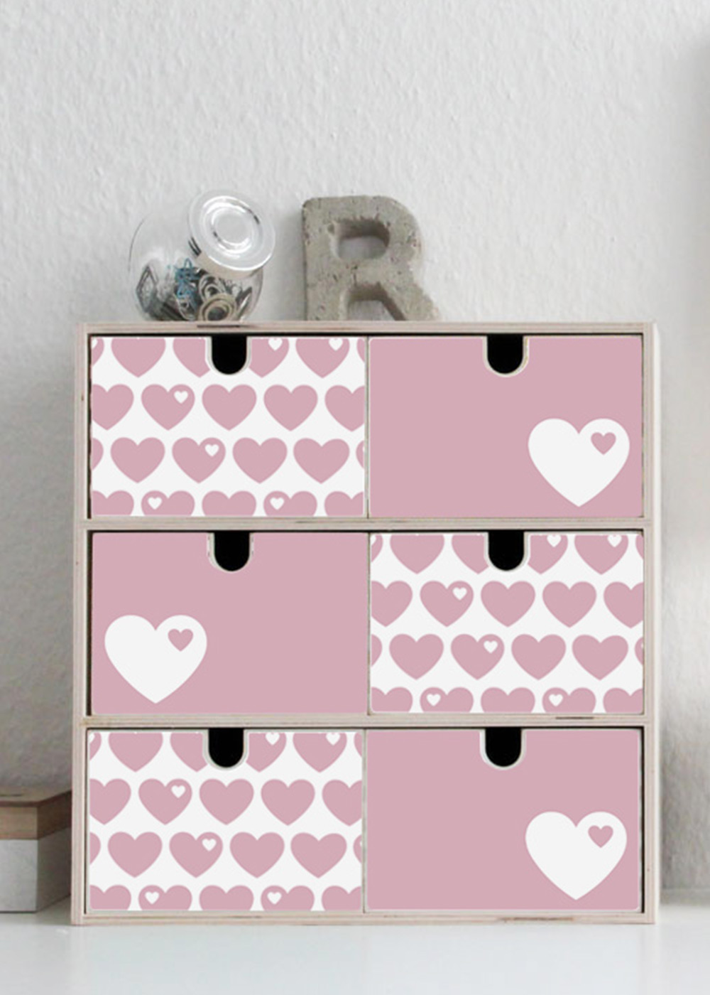 Klebefolie Ikea Moppe ByGraziela Herz rosa