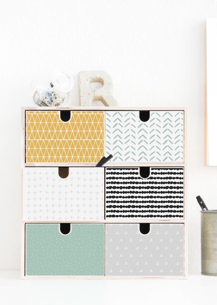 Ikea Moppe Mini Kommode Musta Senf Mint 31x18x32 Komplettansicht