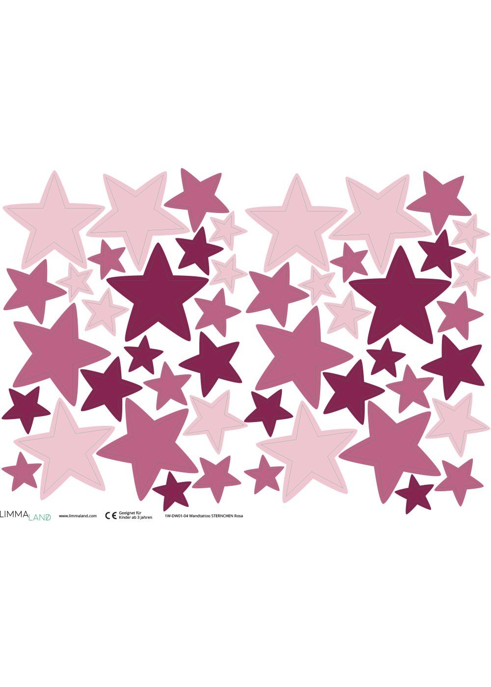 Stickerset Sterne rosa Stickerbogen