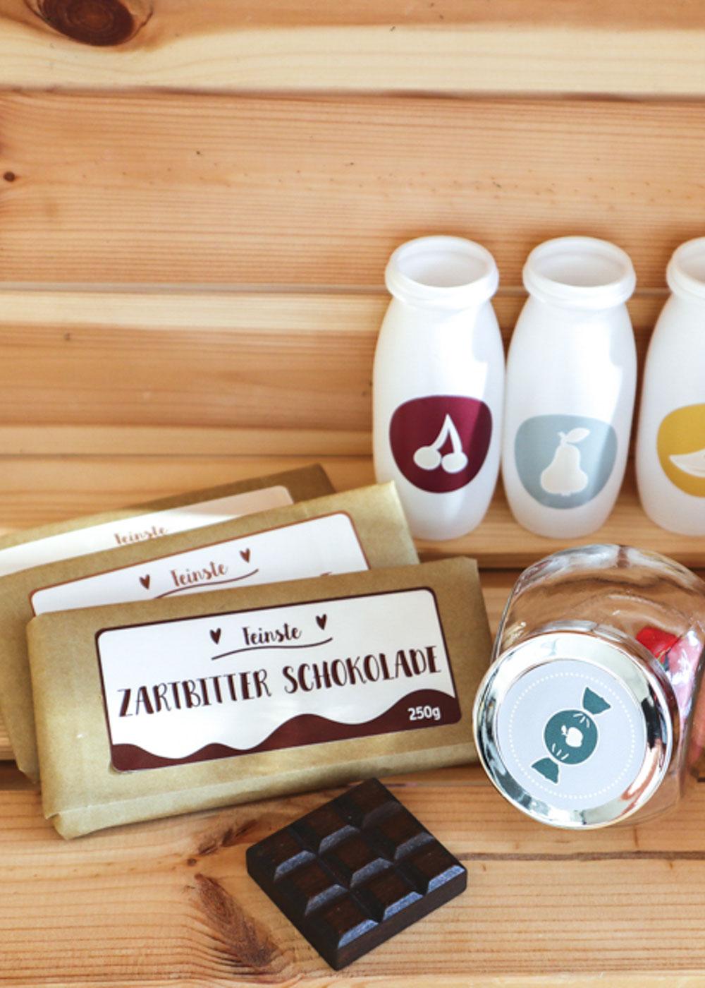 Stickerset Kinderküche Kaufladen Zubehör Läcker Schokolade