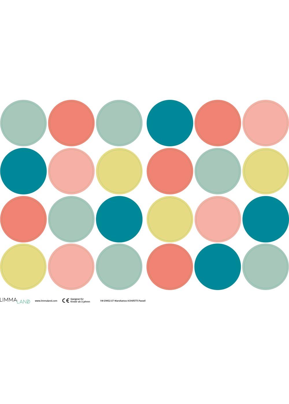 Stickerset Polka dots Pastell Druckvorlage