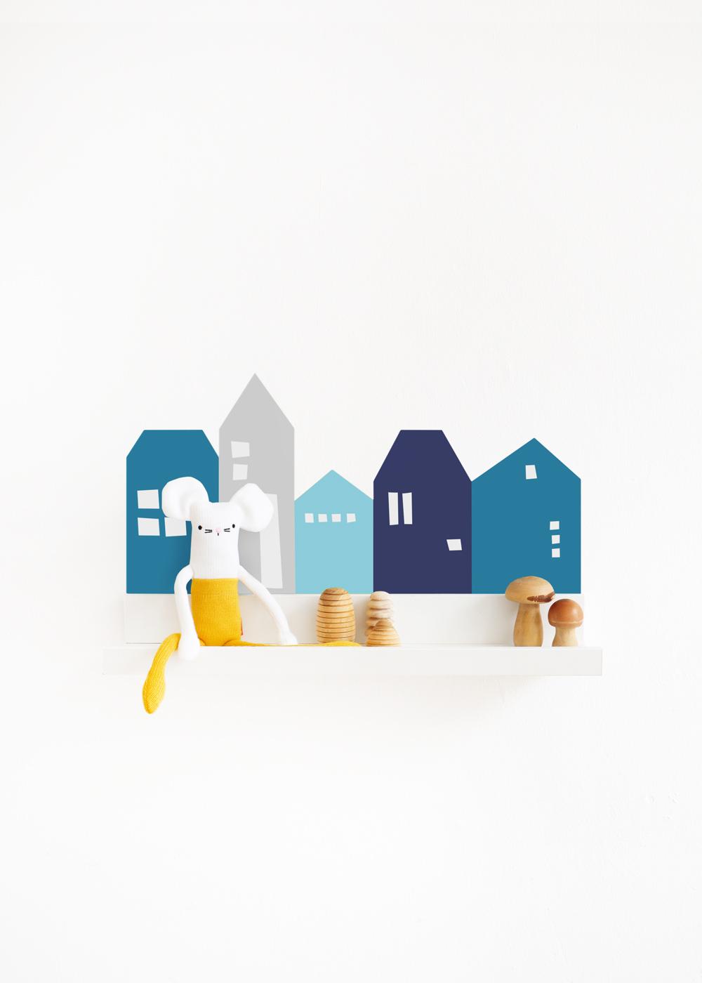 Ikea Mosslanda Bilderleiste Lille Hus blau hellgrau Komplettansicht