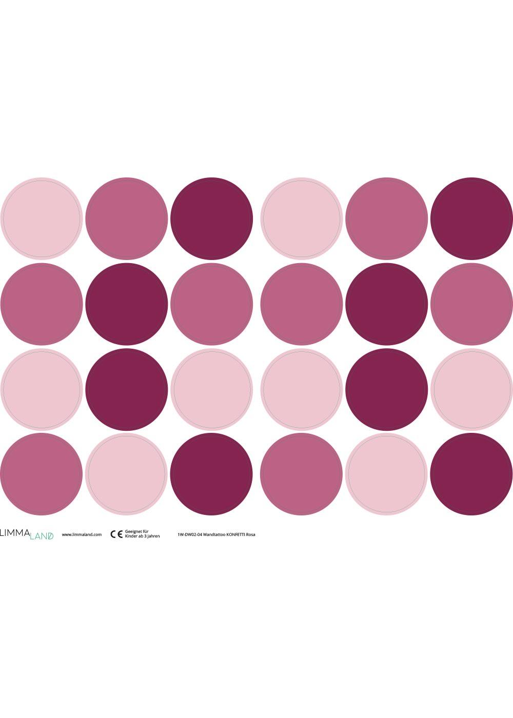 Stickerset Polka dots rosa Druckvorlage