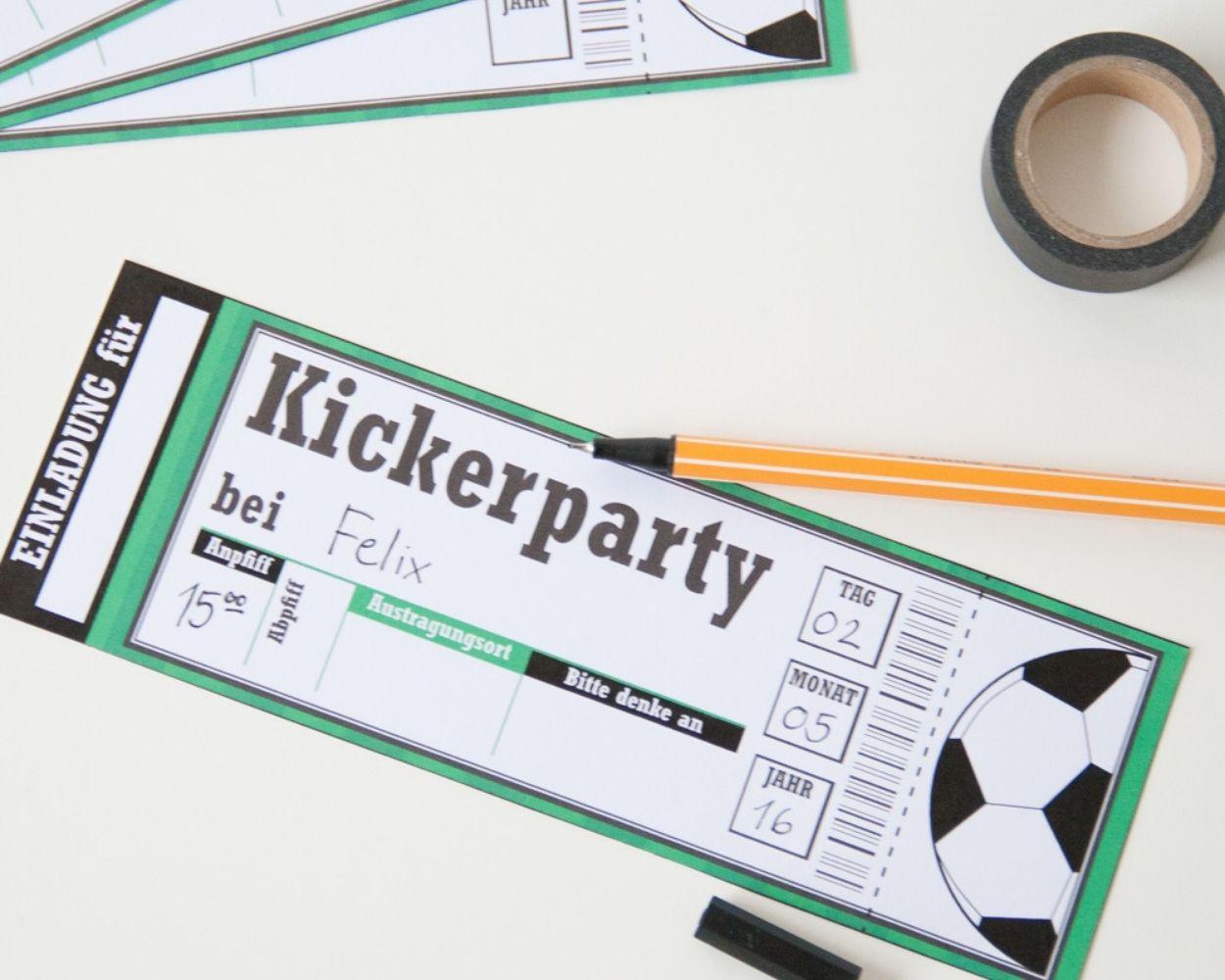 Kickerparty Kindergeburtstag Einladung