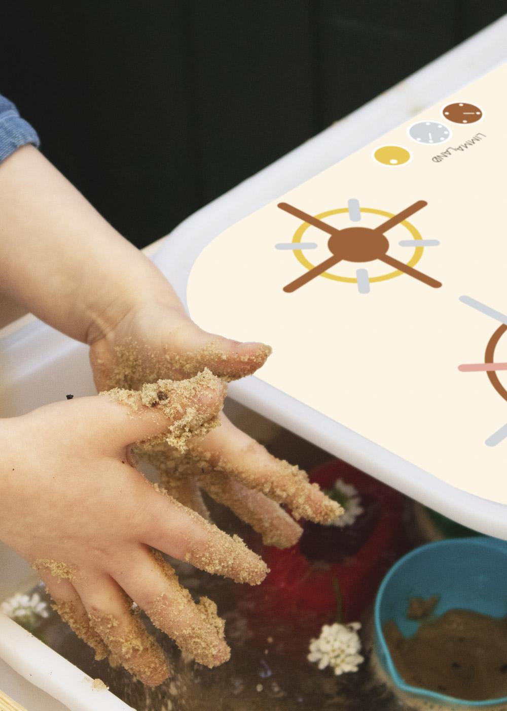 Ikea Trofast Box Matschküche Erdig und Feurig sand Herd Teilansicht