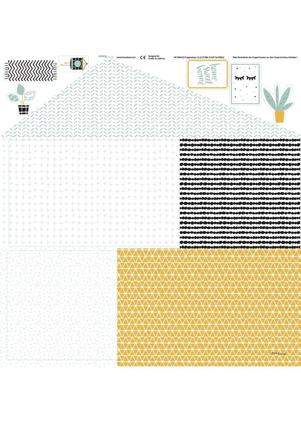 Ikea Flisat Puppenhaus Tapete Lille Stuba mint senf Druckvorlage