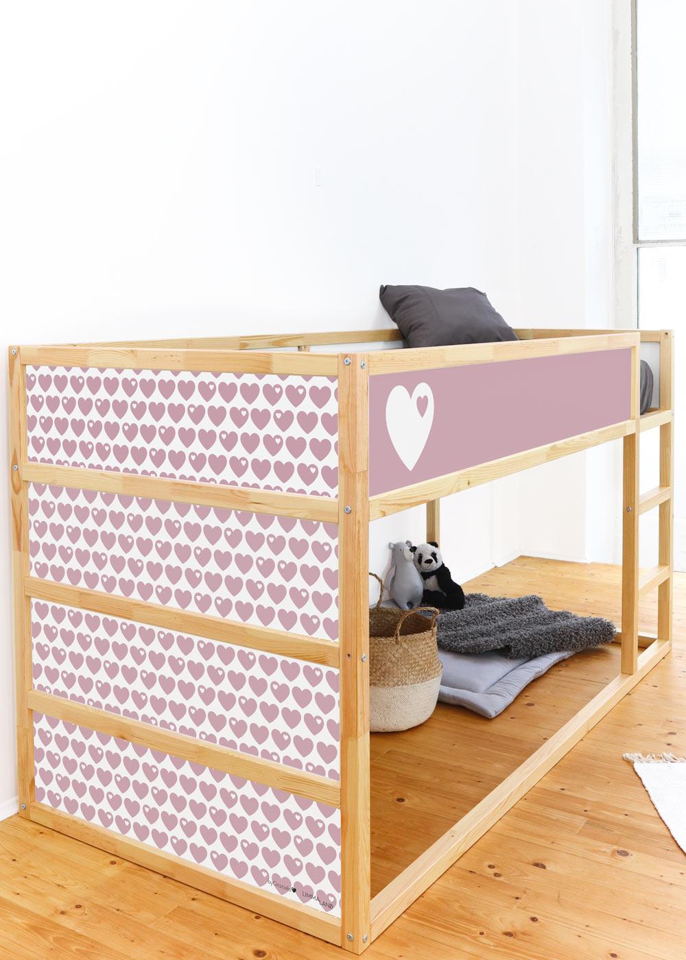 Ikea Kuras Hochbett ByGraziela Herz altrosa Komplettansicht