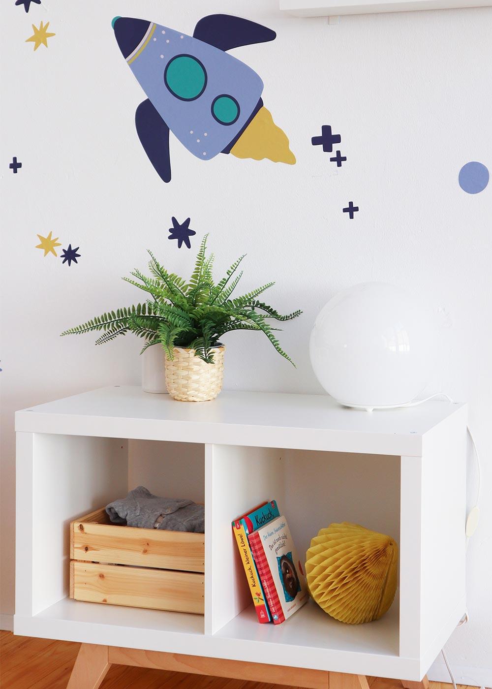 Wand Möbel Stickerset Rakete Unendlig Teilansicht