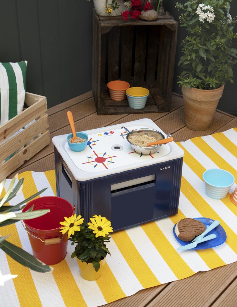 Ikea Trofast Box Kinderherd Erdig blau rot Gesamtansicht Getränkekiste